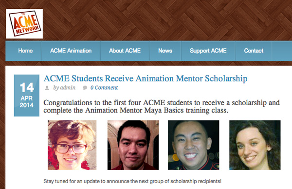 acme students ACME Network Scholarship: New Animators Shine