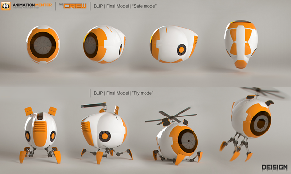 """blog final model blip Designing an Animation Character Rig: Meet Blip   The Newest Member of Our """"Crew"""""""