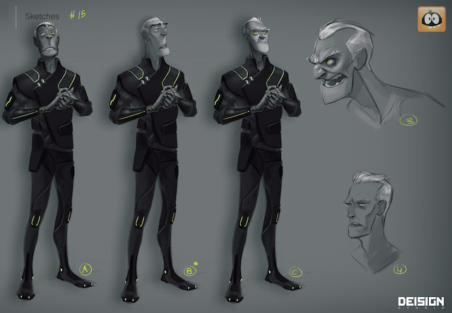 Character design sheet for Viktor