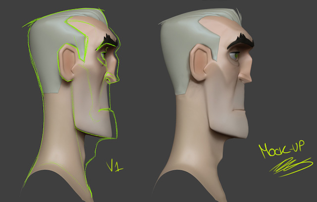 Feedback for modeling, tweaking facial proportions along the Z axis
