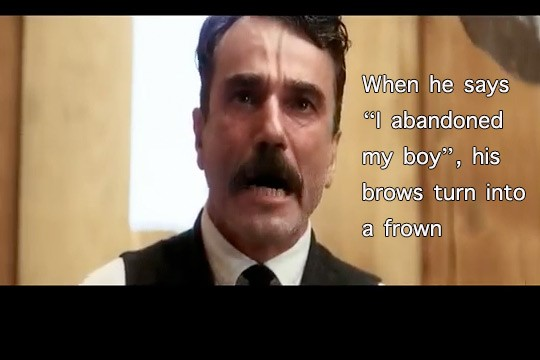 Daniel Day Lewis reacts with strong expressions in There Will Be Blood