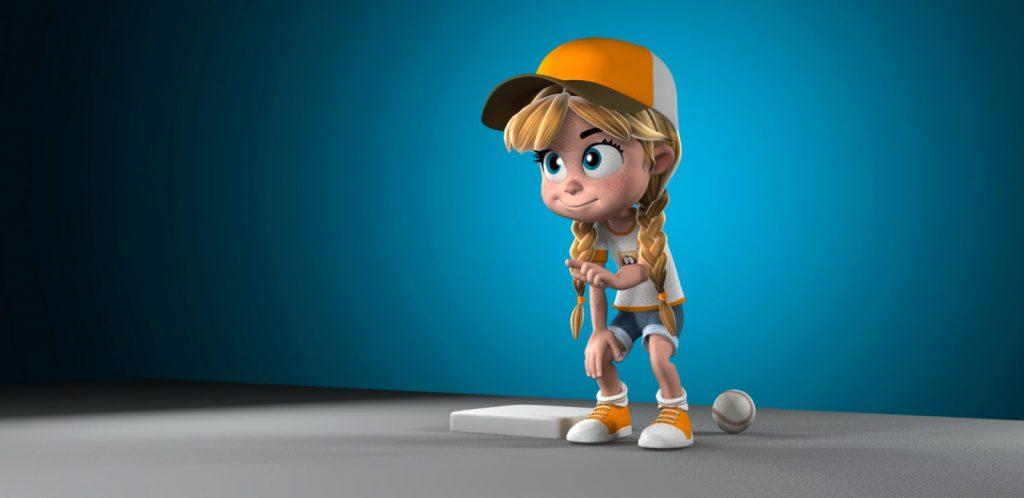 Animation Mentor's Quinn rig playing baseball, mod by Richard Vant Hul