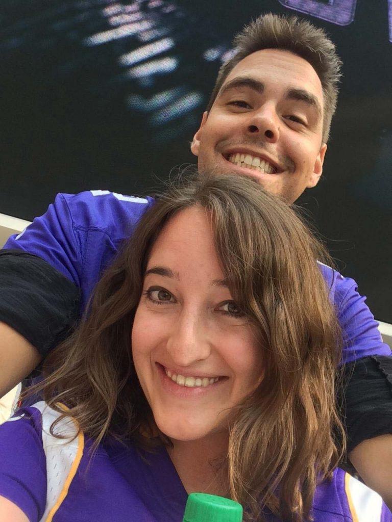 Teresa and her husband, Wes, at a Minnesota Vikings Game