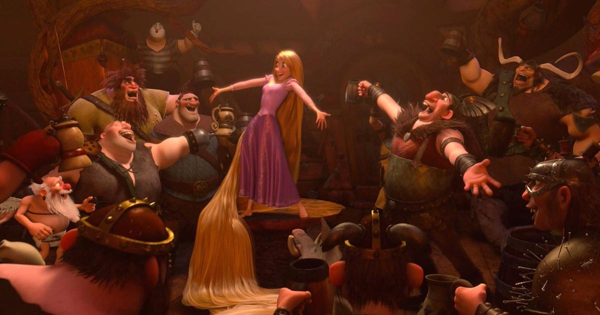 Rapunzel befriends a group of pub ruffians in Tangled