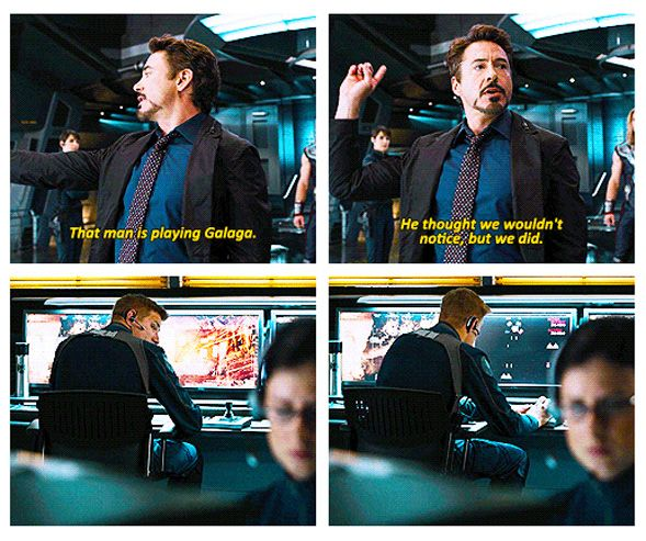 """Iron Man says, """"That man is playing Galaga"""" in The Avengers."""