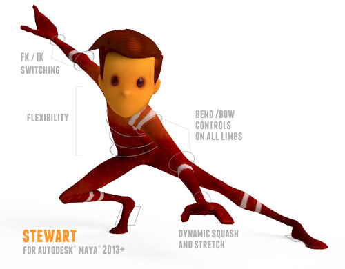 """Stewart Free Maya Rig 500390 Designing an Animation Character Rig: Meet Blip   The Newest Member of Our """"Crew"""""""